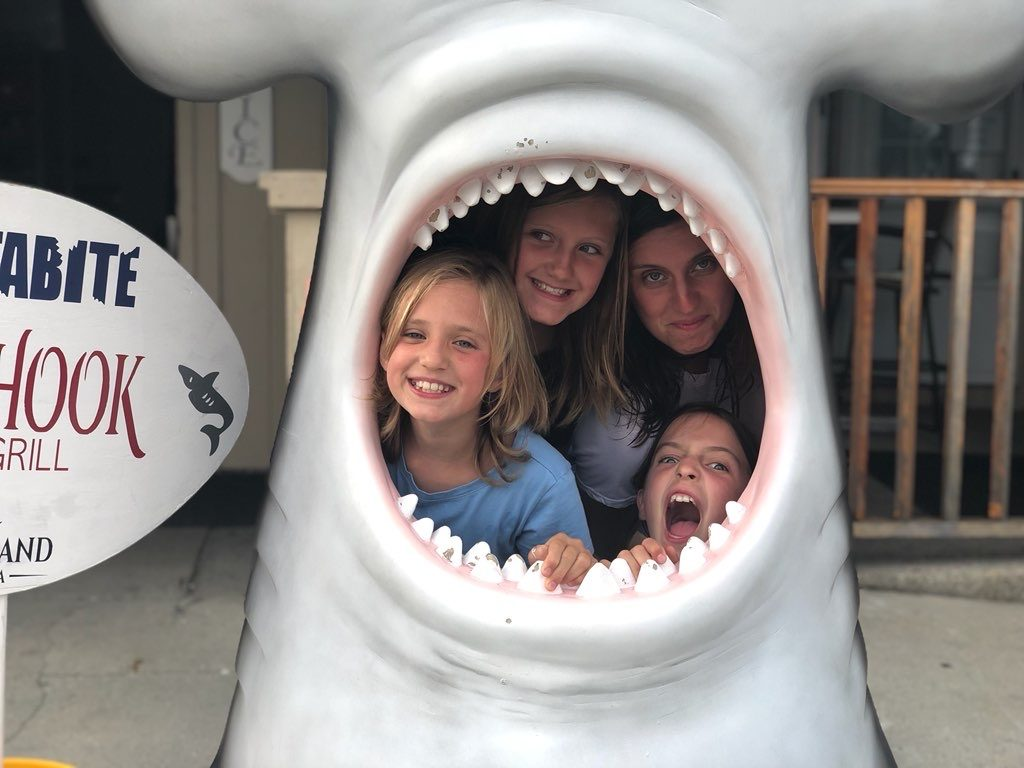 Alexa and her kids inside a shark